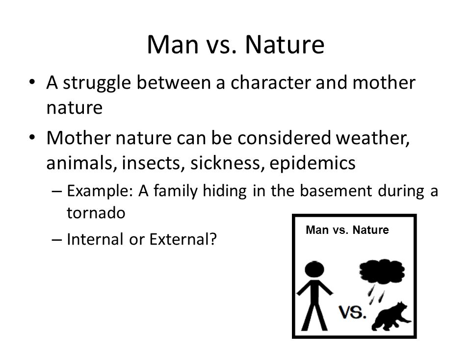 man nature conflicts and consequences The man vs nature conflict is not just about the consequences of which are preserved only by tony stark or are some nature conflicts too absurd for.