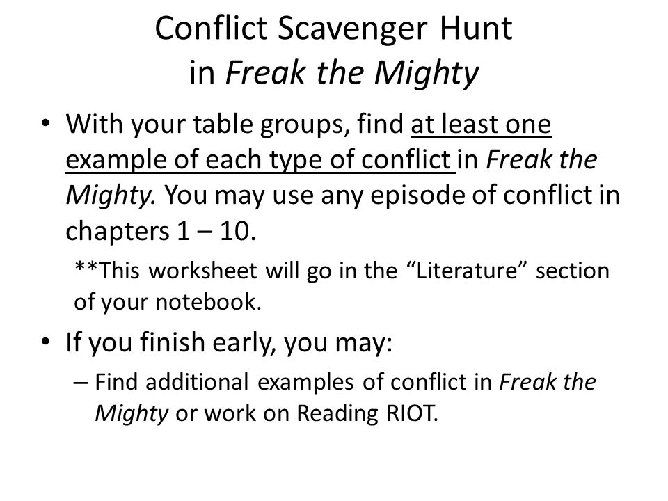 Types of Conflict October 28 ppt download – Freak the Mighty Worksheets
