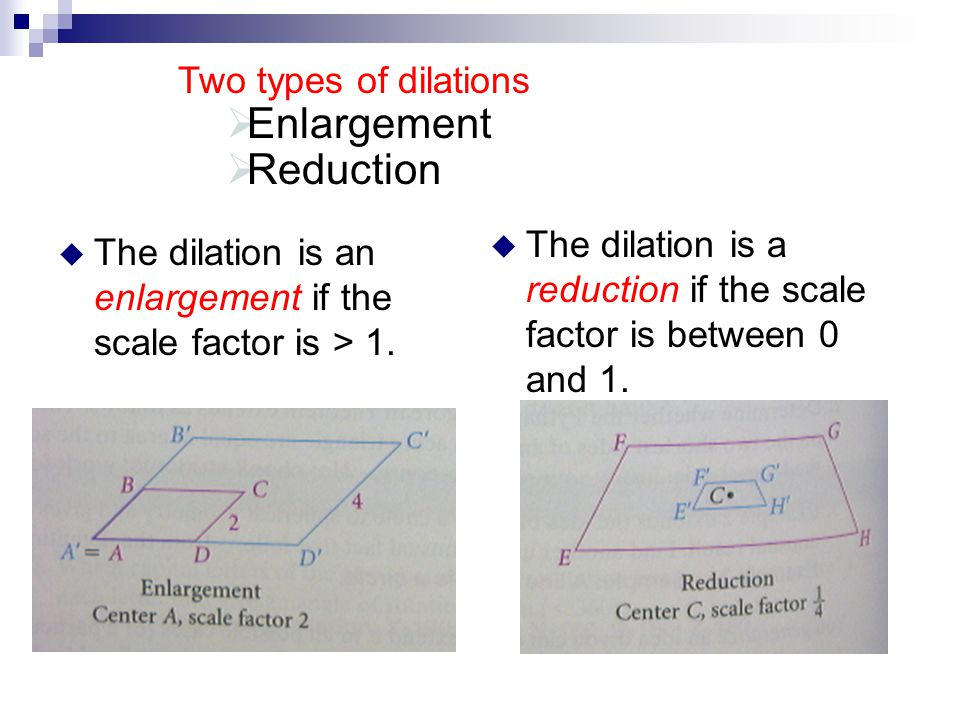 Enlargement Reduction Two types of dilations