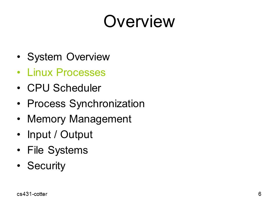 an overview of the linux operating system 2002-12-12 the linux kernel: introduction cs591 (spring 2001)  1986 ieee portable operating system unix   linux features n unix -like operating system.