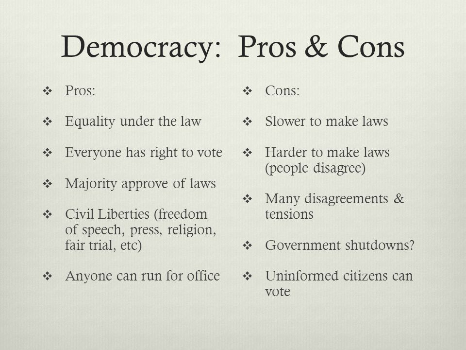 11 Important Pros and Cons of Representative Democracy