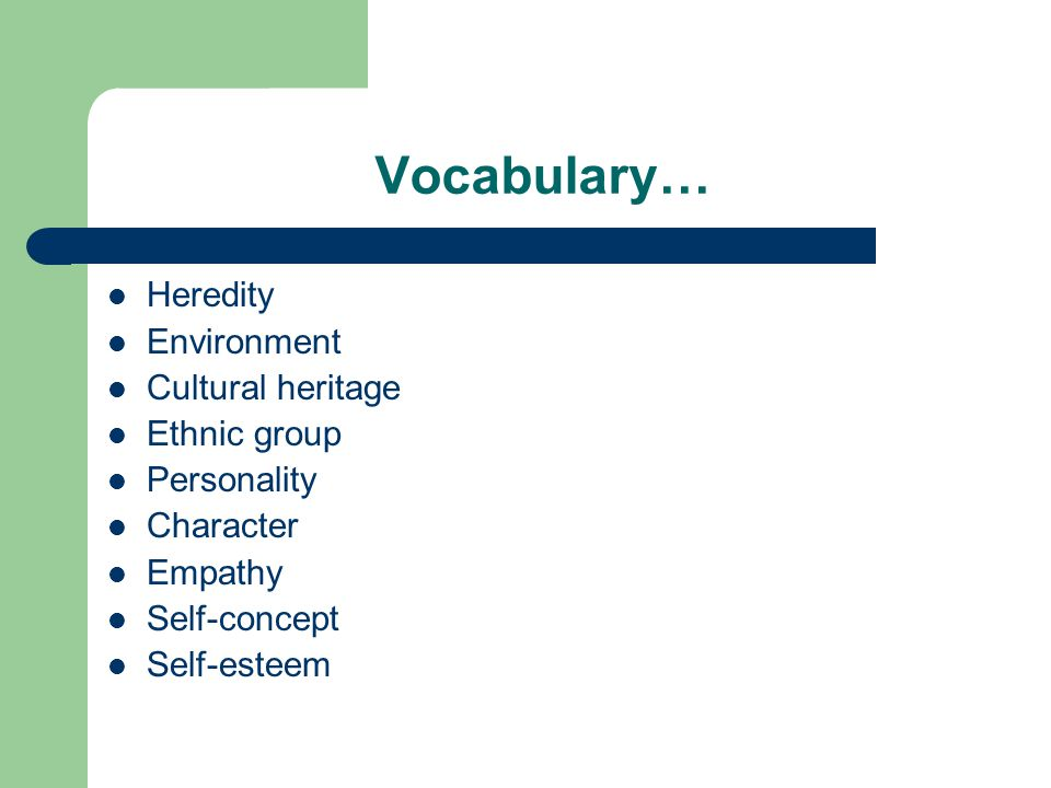 Vocabulary… Heredity Environment Cultural heritage Ethnic group