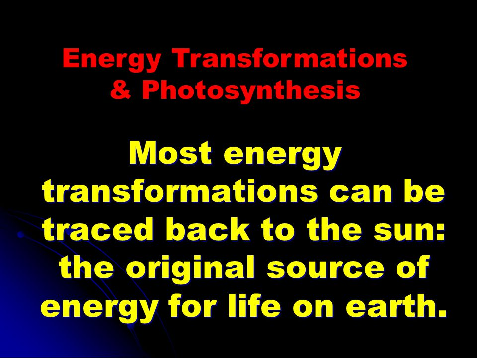 Energy Transformations & Photosynthesis