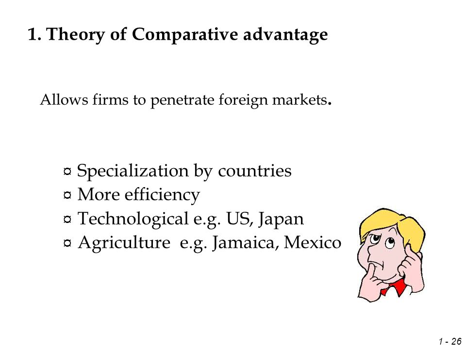 the comparative advantage theory of competition Based on research in ten leading trading nations, the competitive advantage of nations offers the first theory of competitiveness based on the causes of the productivity with which companies compete porter shows how traditional comparative advantages such as natural resources and pools of labor have been superseded as sources of prosperity.