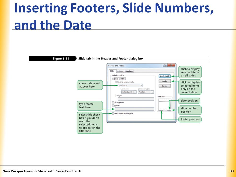 Inserting Footers, Slide Numbers, and the Date