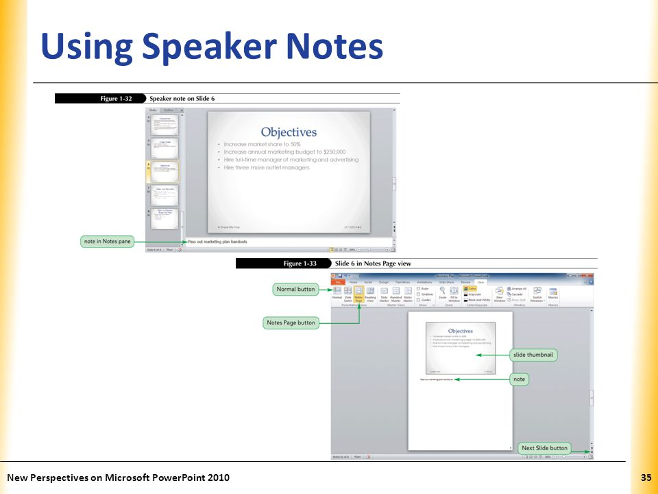 Using Speaker Notes New Perspectives on Microsoft PowerPoint 2010