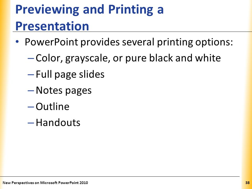 Previewing and Printing a Presentation