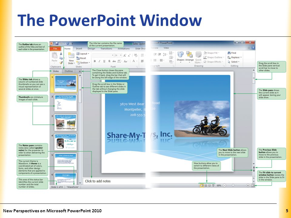The PowerPoint Window New Perspectives on Microsoft PowerPoint 2010