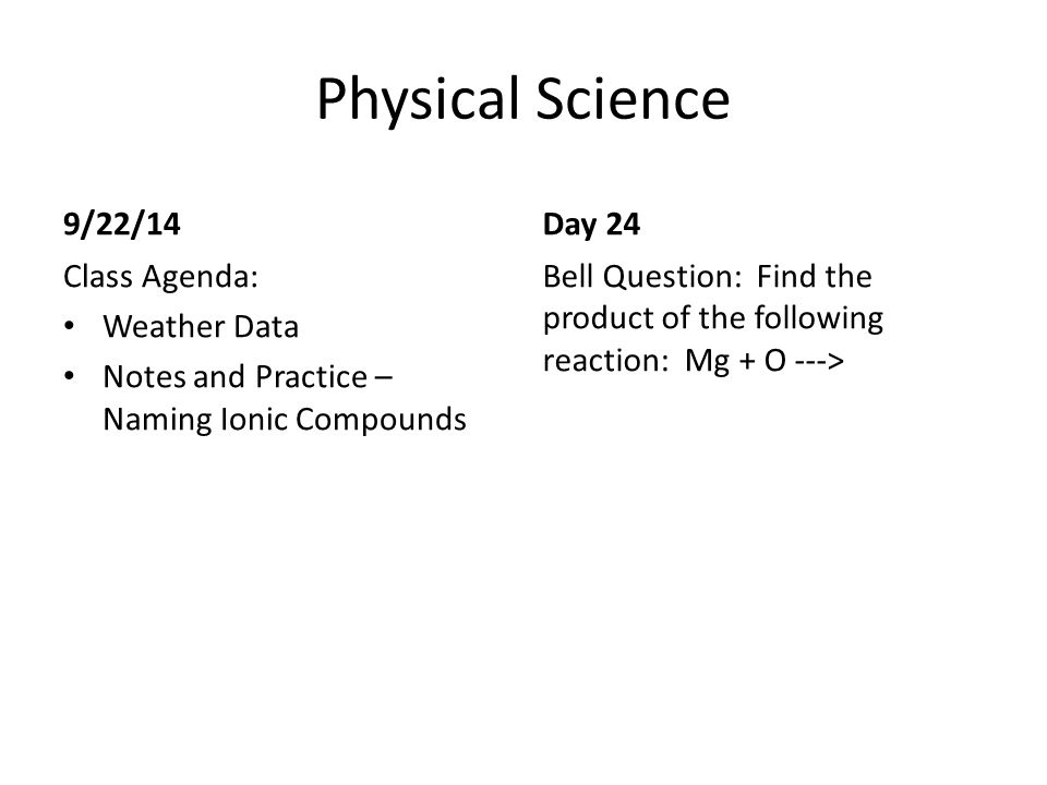 Physical Science Bell Work ppt video online download – Naming Ionic Compounds Practice Worksheet