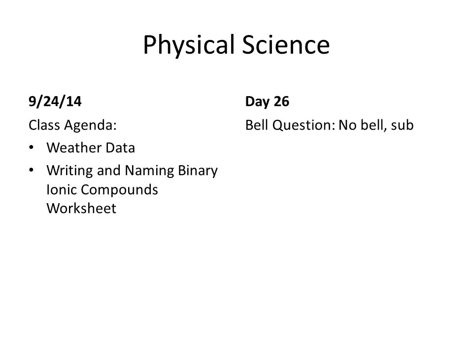 Physical Science Bell Work ppt video online download – Writing Ionic Compounds Worksheet