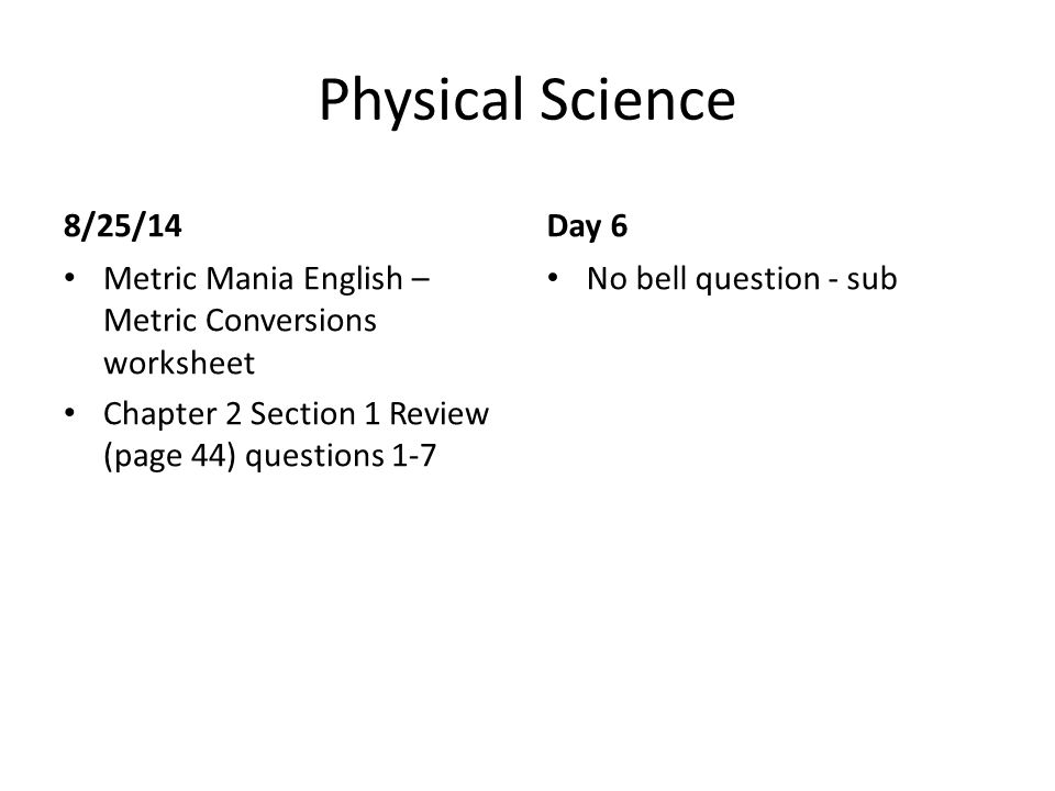 Physical Science Bell Work ppt download – Metric Mania Worksheet
