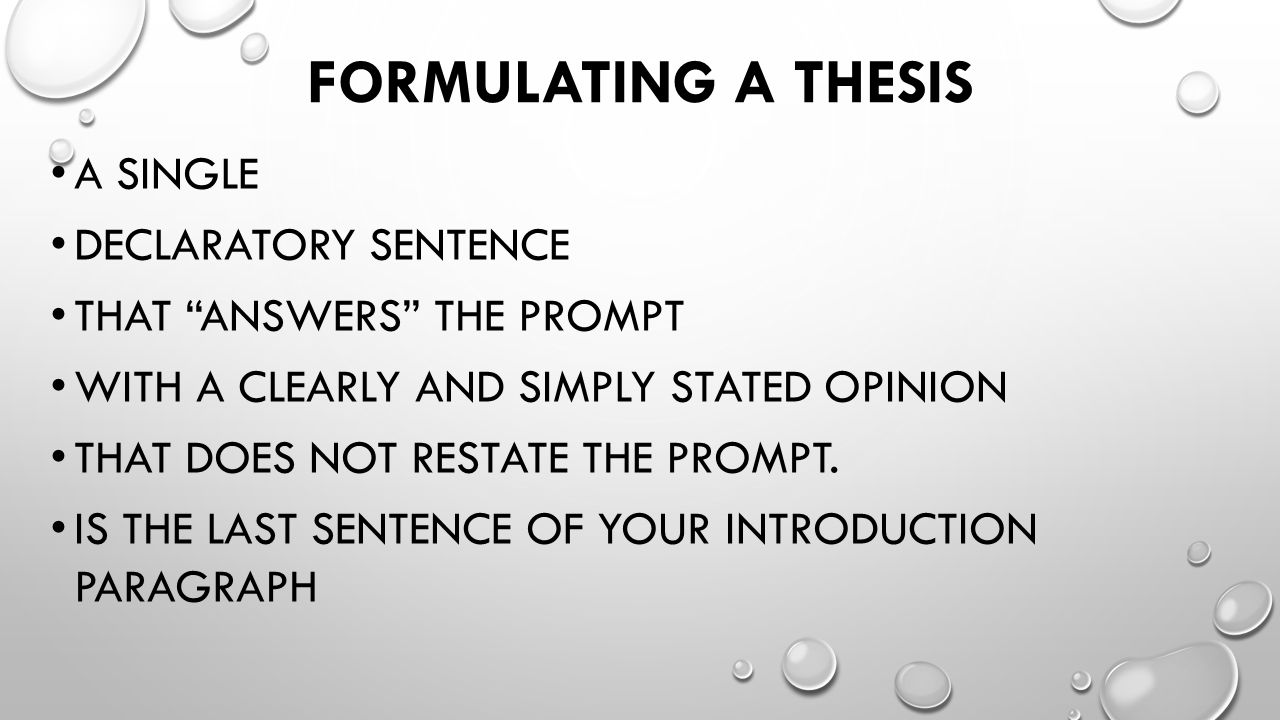 a thesis must be the last sentence in the introduction Your thesis statement tells the reader the point of your essay  sure that it ties in  with your thesis statement, which will be included as the last sentence of your  introduction 6  your conclusion should consist of three to five strong sentences.