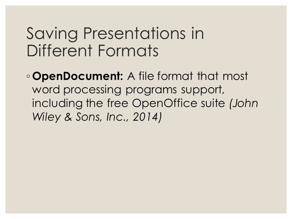 Saving Presentations in Different Formats