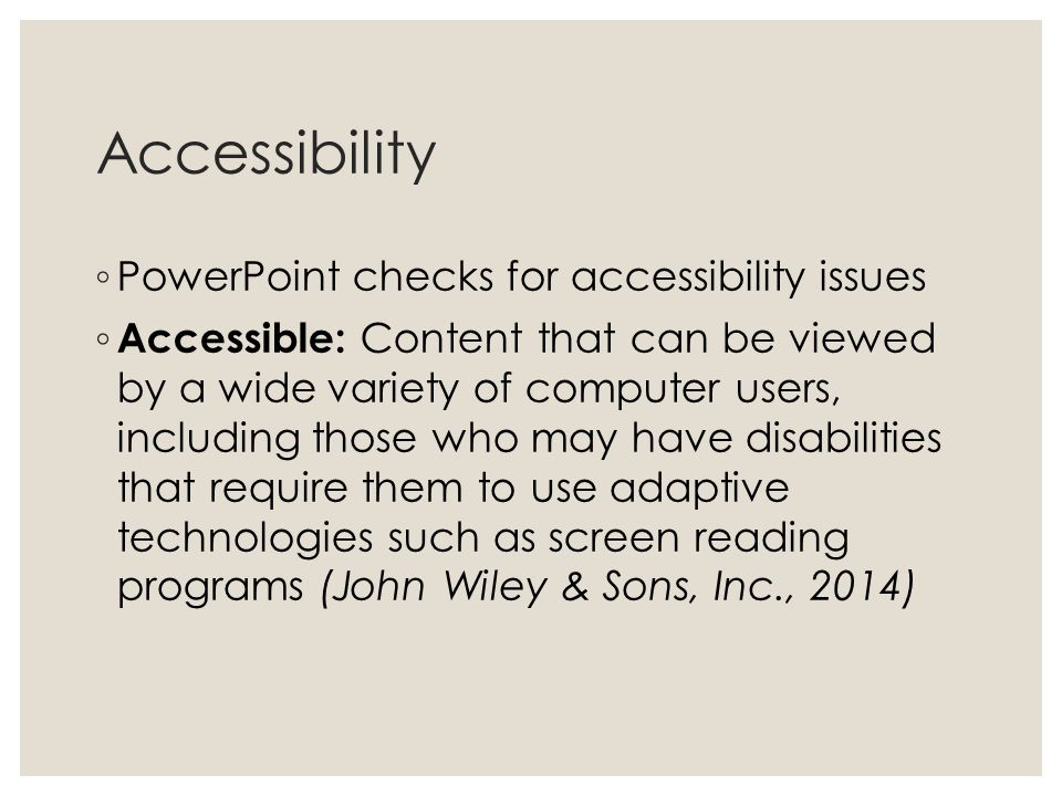 Accessibility PowerPoint checks for accessibility issues