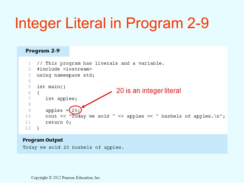 Integer Literal in Program 2-9