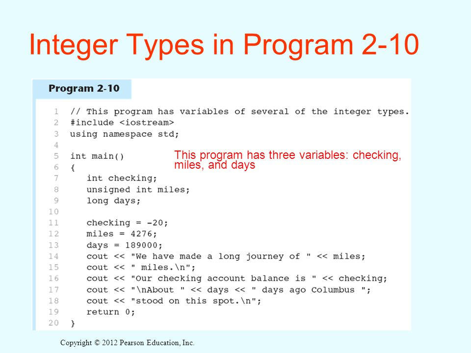 Integer Types in Program 2-10