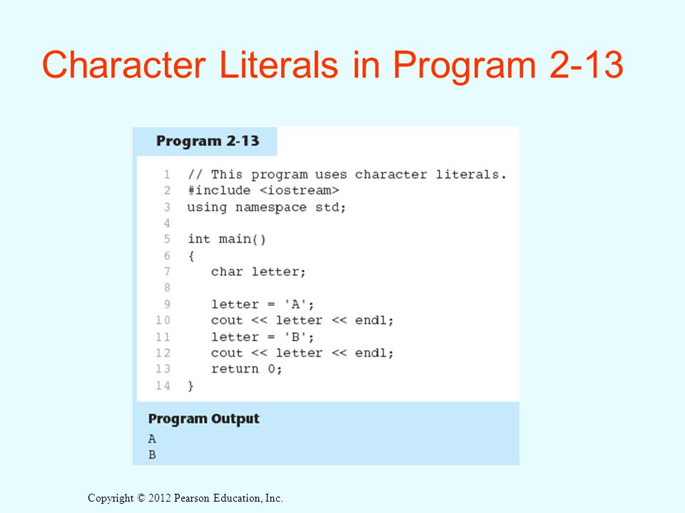 Character Literals in Program 2-13
