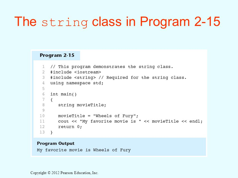 The string class in Program 2-15