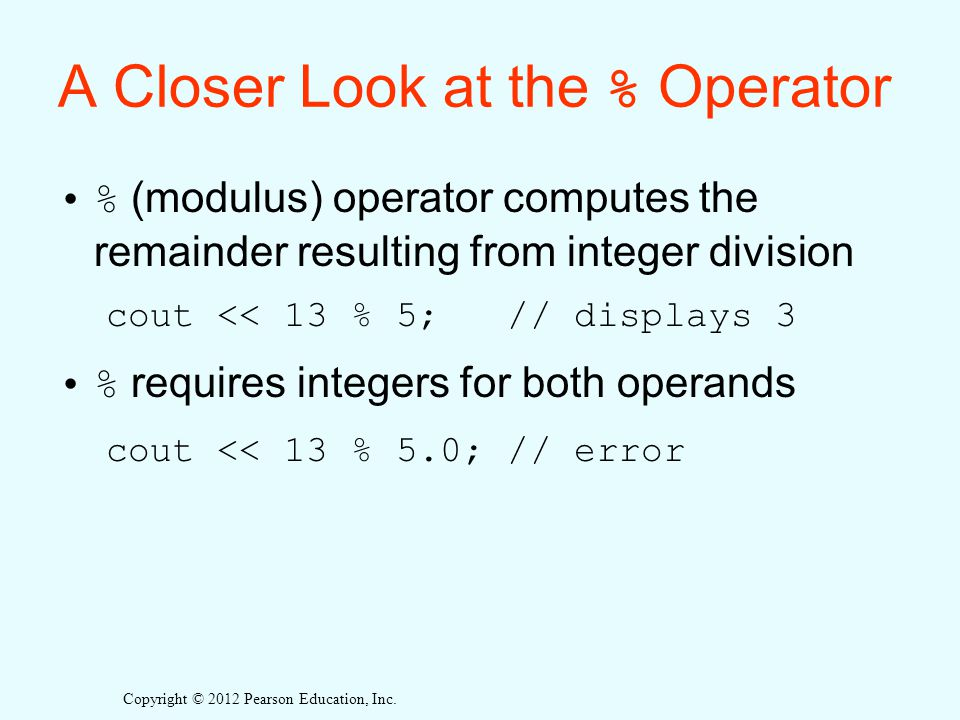 A Closer Look at the % Operator