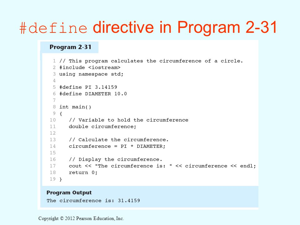 #define directive in Program 2-31