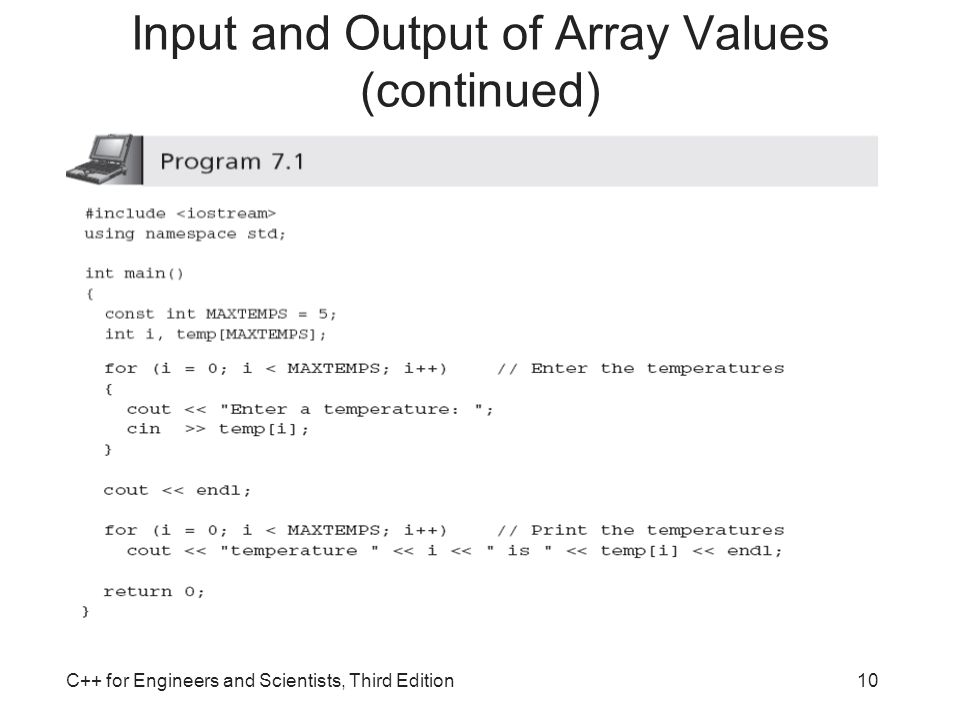Input and Output of Array Values (continued)