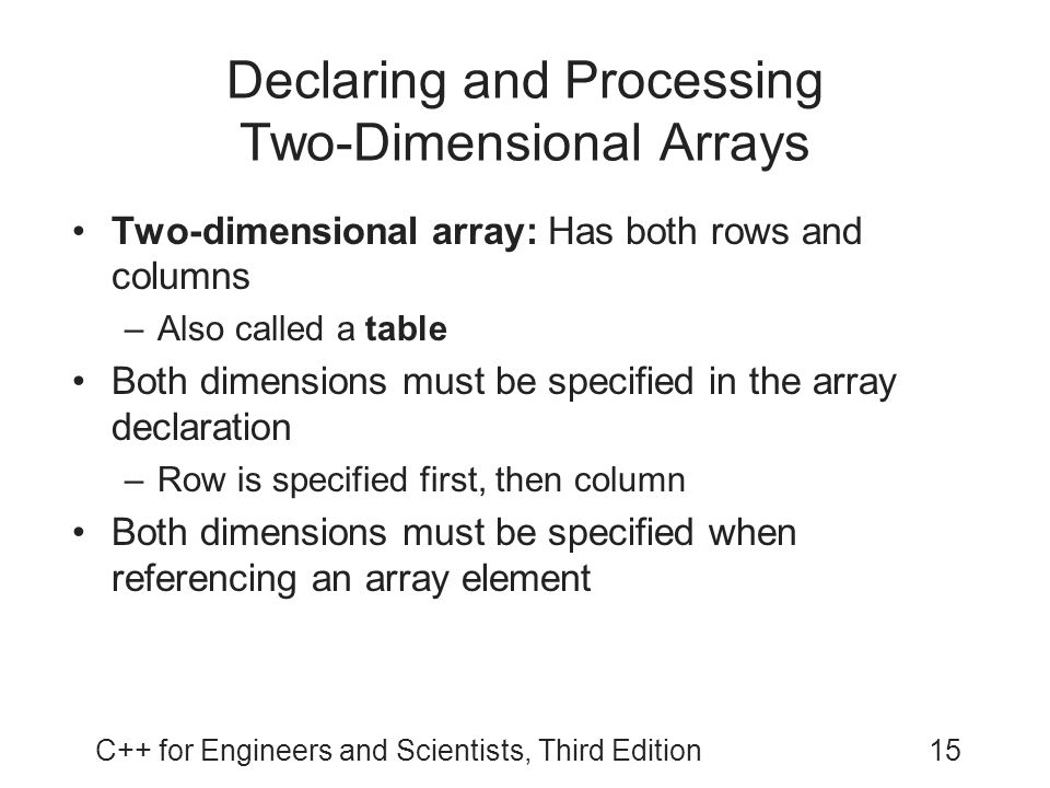 Declaring and Processing Two-Dimensional Arrays