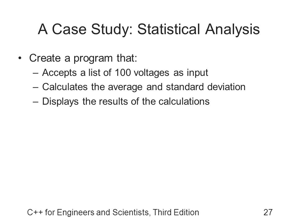 A Case Study: Statistical Analysis