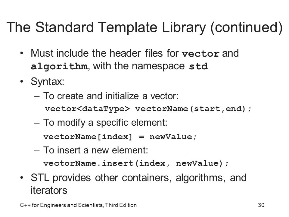 The Standard Template Library (continued)