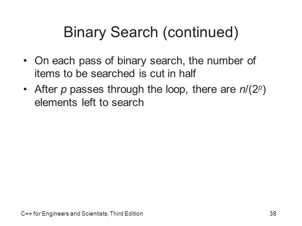 Binary Search (continued)