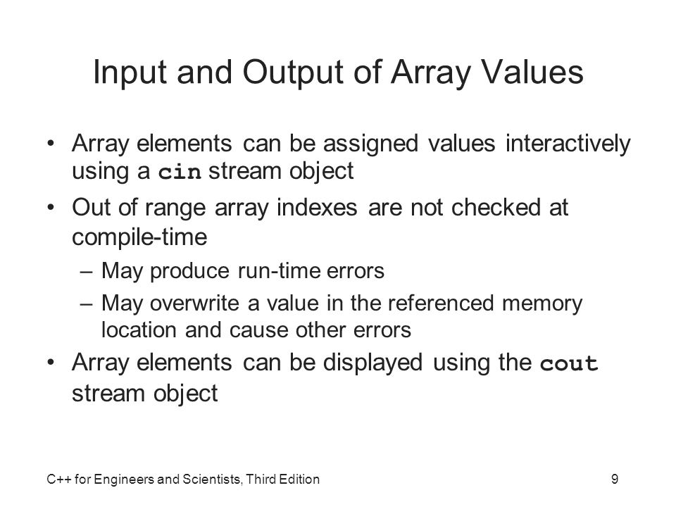 Input and Output of Array Values