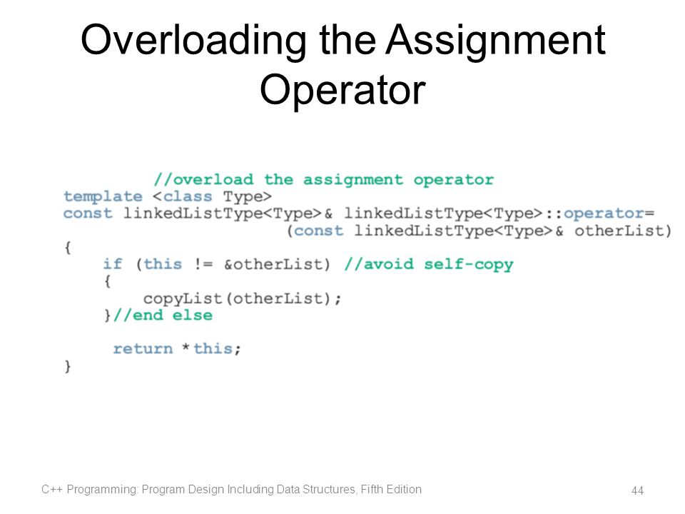 assignment operator overloading