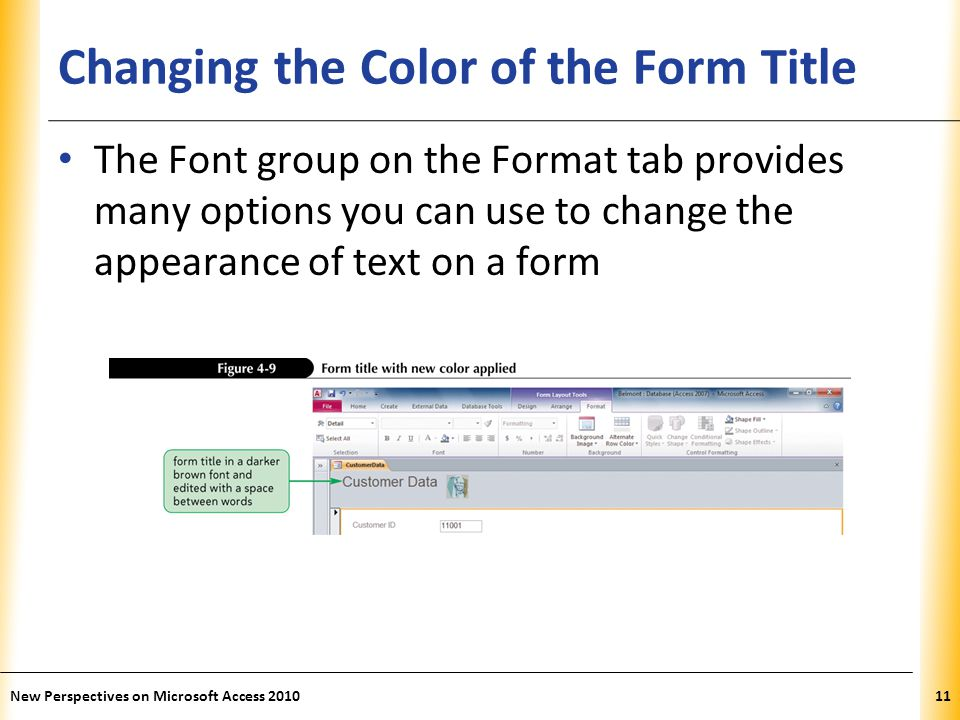 Changing the Color of the Form Title