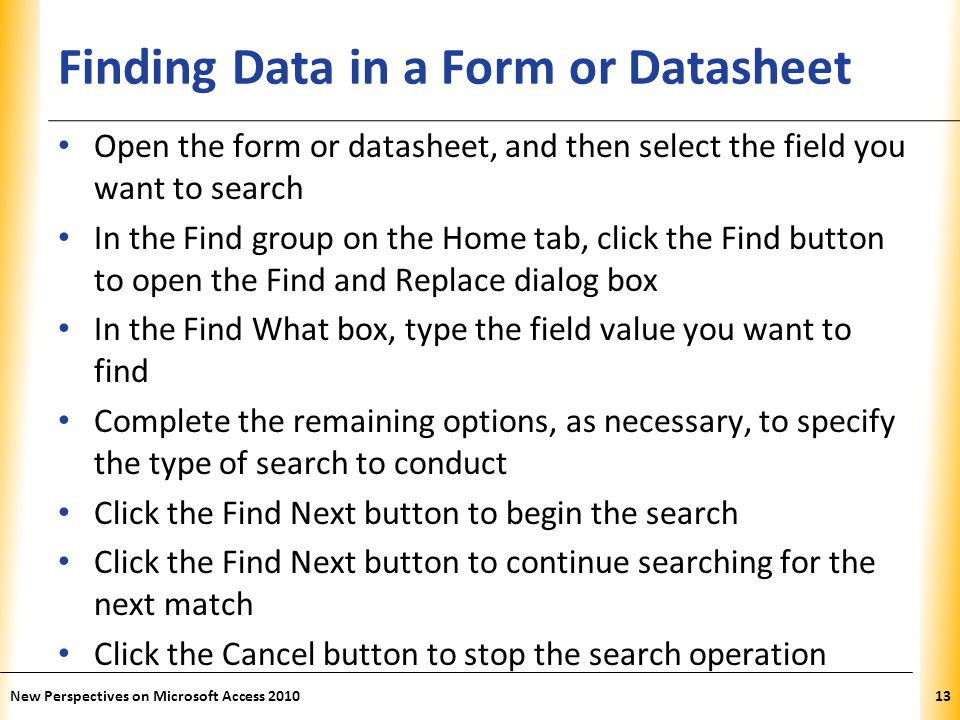Finding Data in a Form or Datasheet