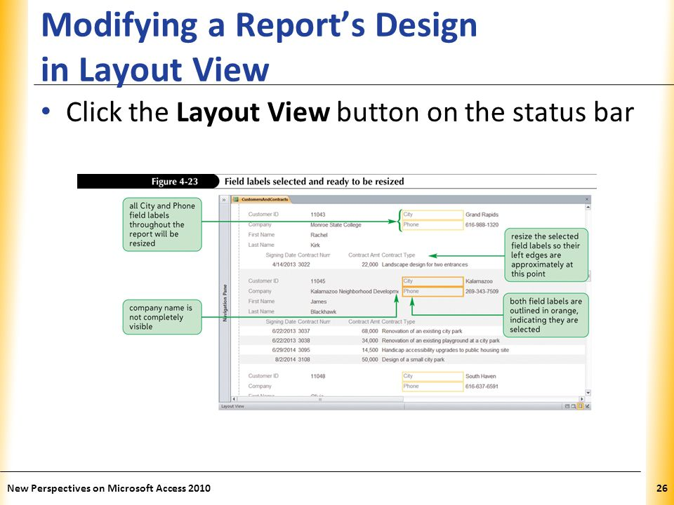 Modifying a Report's Design in Layout View