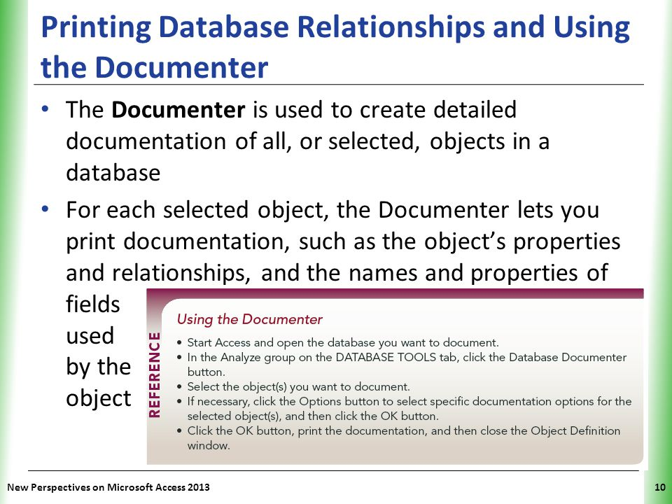 Printing Database Relationships and Using the Documenter