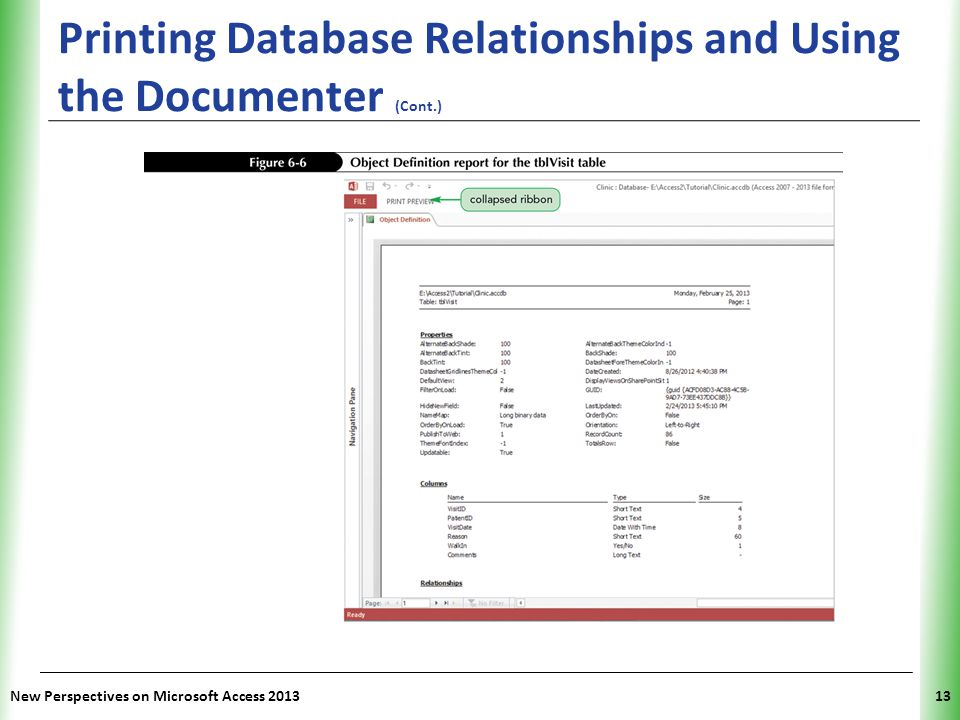 Printing Database Relationships and Using the Documenter (Cont.)