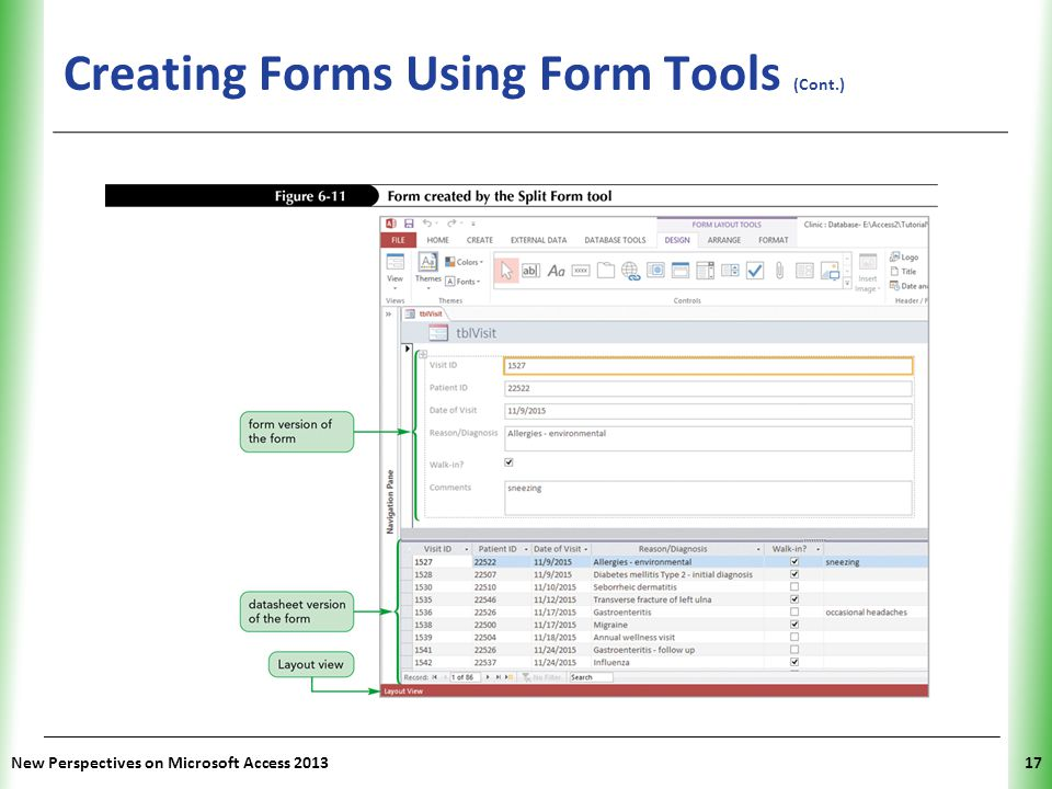 Creating Forms Using Form Tools (Cont.)