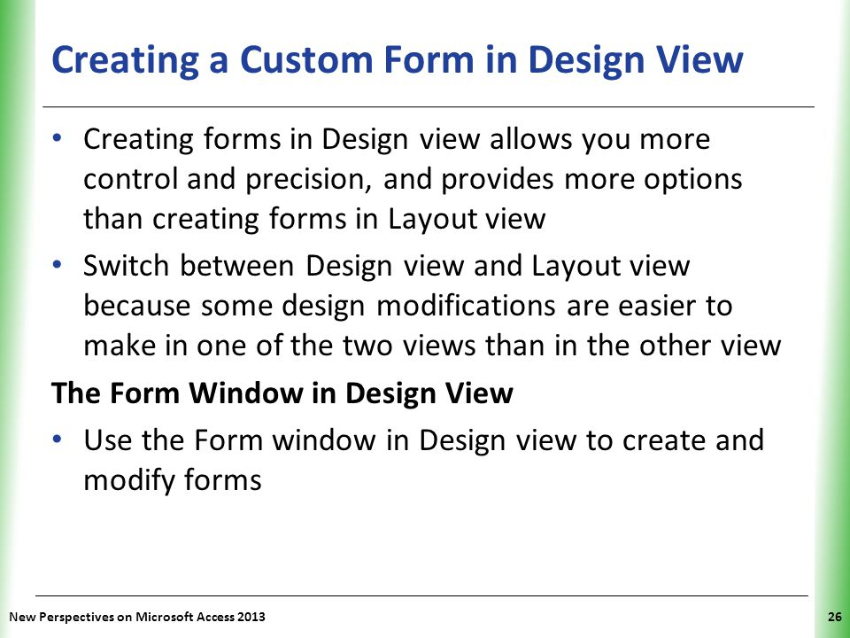 Creating a Custom Form in Design View