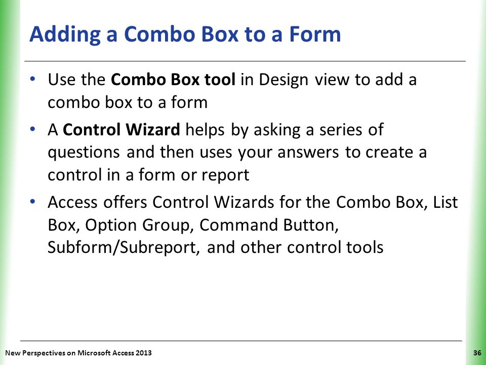 Adding a Combo Box to a Form