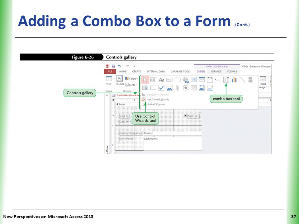 Adding a Combo Box to a Form (Cont.)