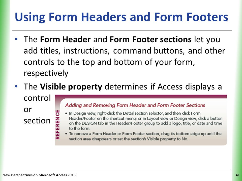 Using Form Headers and Form Footers