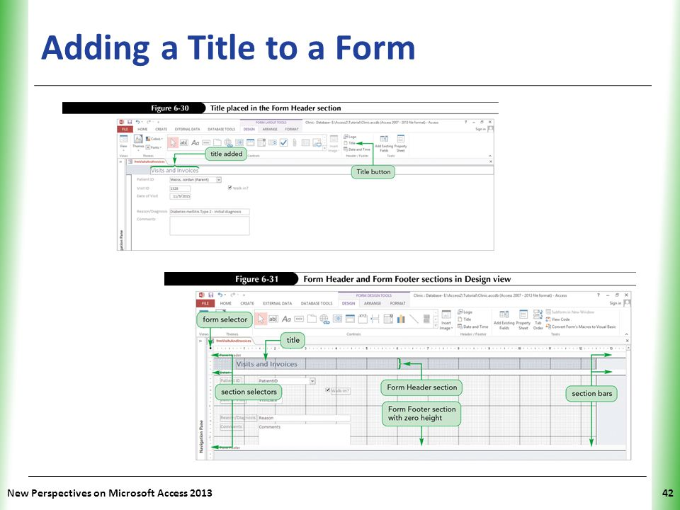 Adding a Title to a Form New Perspectives on Microsoft Access 2013