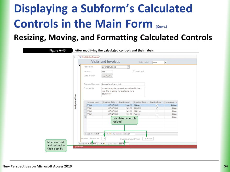 Displaying a Subform's Calculated Controls in the Main Form (Cont.)