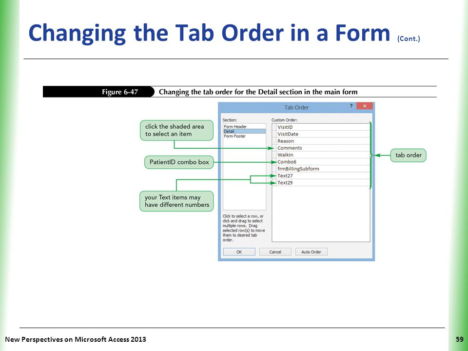 Changing the Tab Order in a Form (Cont.)