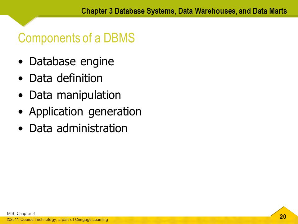 Components of a DBMS Database engine Data definition Data manipulation