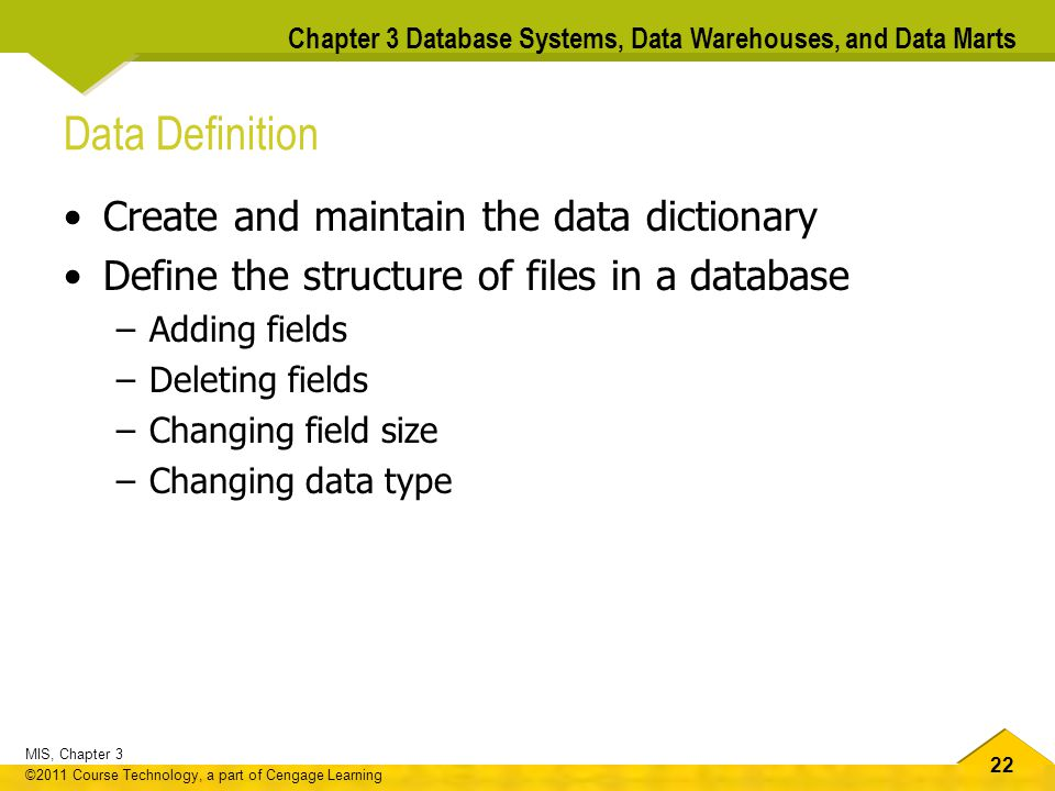 Data Definition Create and maintain the data dictionary