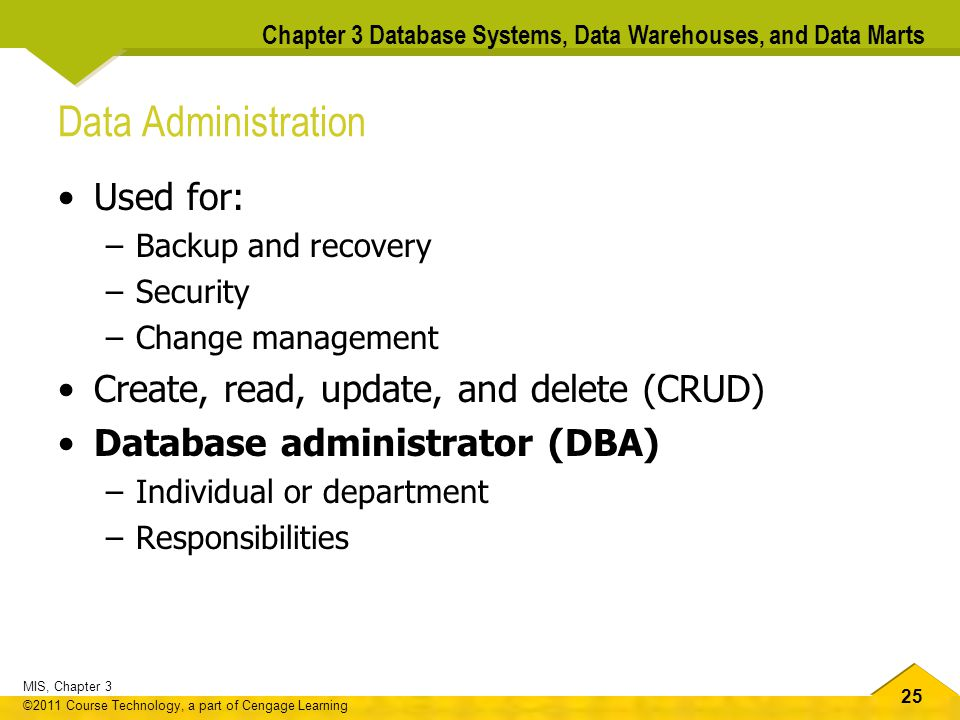 Data Administration Used for: Create, read, update, and delete (CRUD)