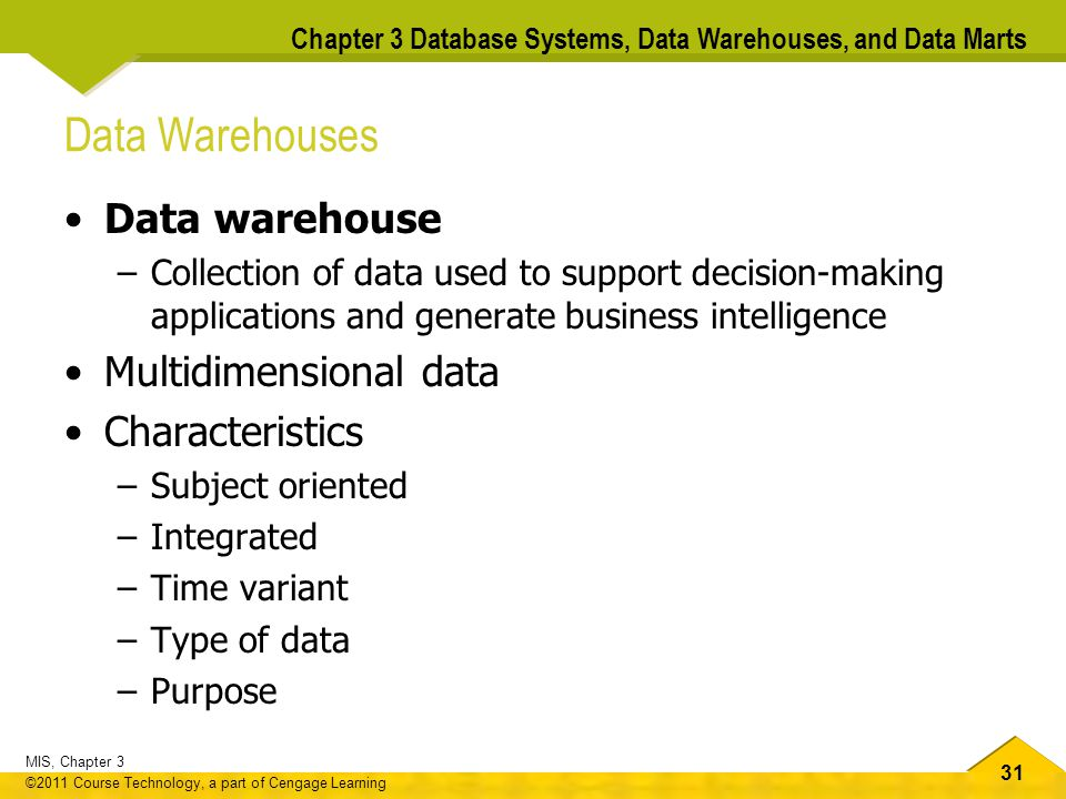 Data Warehouses Data warehouse Multidimensional data Characteristics