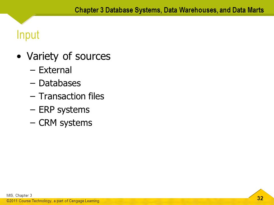 Input Variety of sources External Databases Transaction files