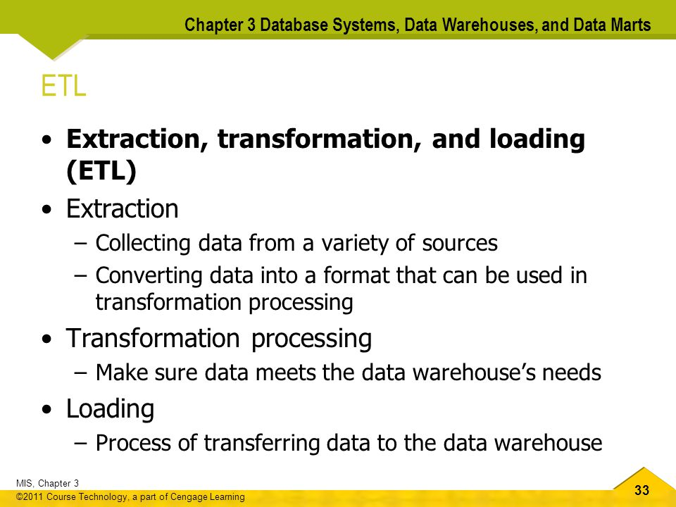 ETL Extraction, transformation, and loading (ETL) Extraction